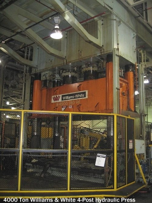 Used 1999 Williams and White 4 Post hydrauluc press model H-4000-180-96 for sale