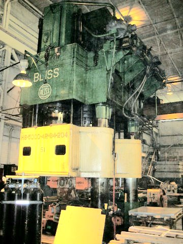 Used Bliss 5000 ton 4 post Hydraulic Press, with all updated
