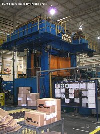 Techmachinery Sales has this 1996 Schuller 1600 ton 4-Post Hydraulic Press for sale
