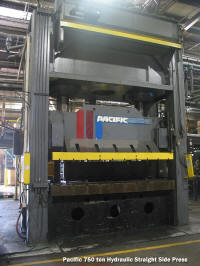 Used 750 ton Pacific brand hydraulic Straight side type press for sale