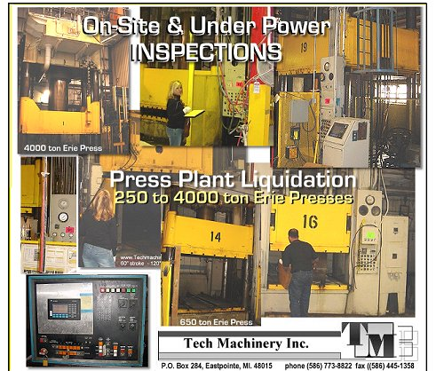 20 Used Erie Stamping presses form 250 to 4000 tons being sold at bankrupt prices.